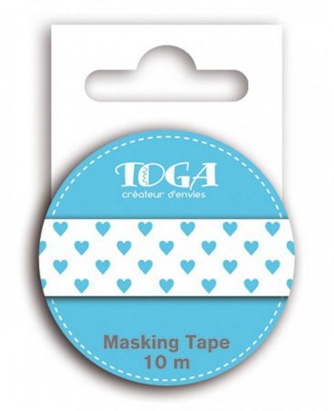 Toga Masking Tape Herzen blau/weiß
