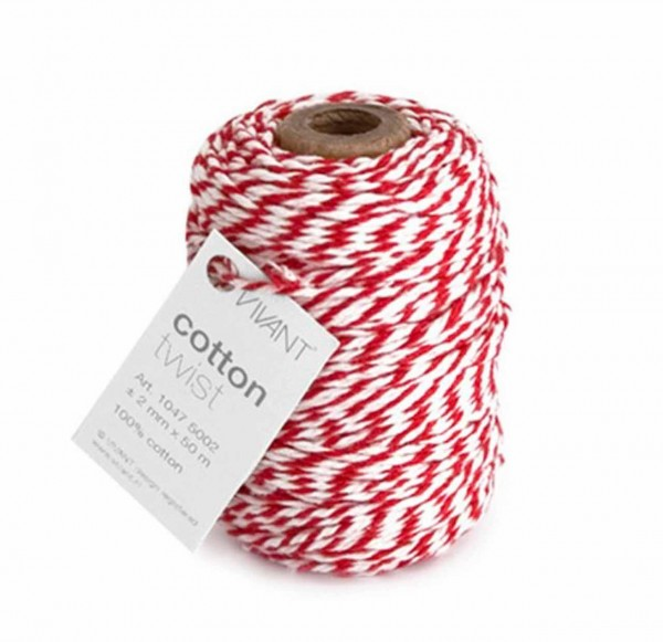 Cotton twist Kordel rot/weiß