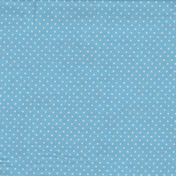 Baumwollstoff Judith hellblau weiß getupft