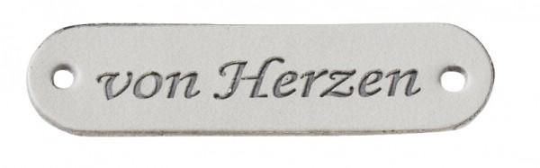 """Kunstleder Labels """"von Herzen"""" grau"""