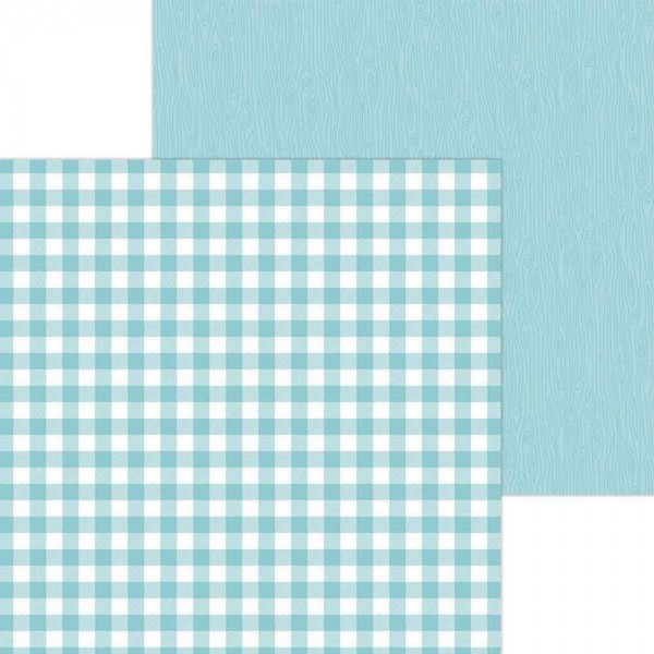 Doodlebug Petite Prints - Buffalo Check/Wood Grain - Swimming Pool