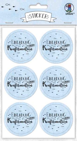 Ursus Sticker rund Einladung zur Konfirmation hellblau