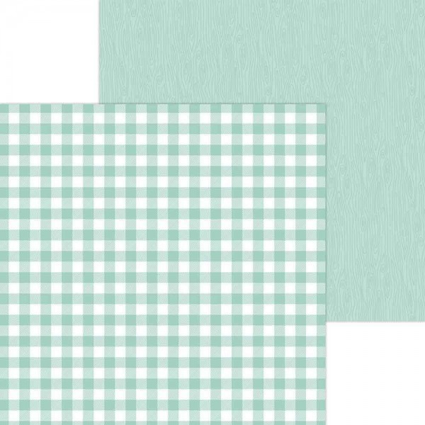 Doodlebug Petite Prints - Buffalo Check/Wood Grain - Pistachio
