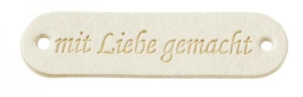 """Kunstleder Labels """"mit Liebe gemacht"""" creme"""