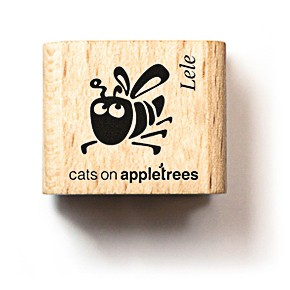 cats on appletrees Holzstempel Bienchen Lele