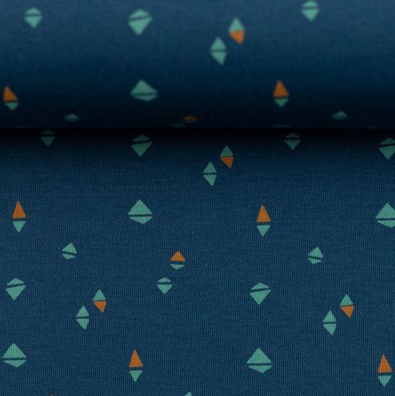 Interlock-Jersey bunte Rauten jeansblau
