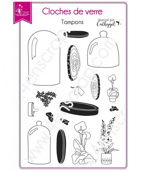 4-Enscrap Clearstempelset Bell jars