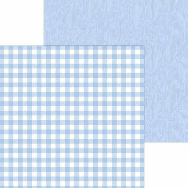 Doodlebug Petite Prints - Buffalo Check/Wood Grain - Bubble Blue