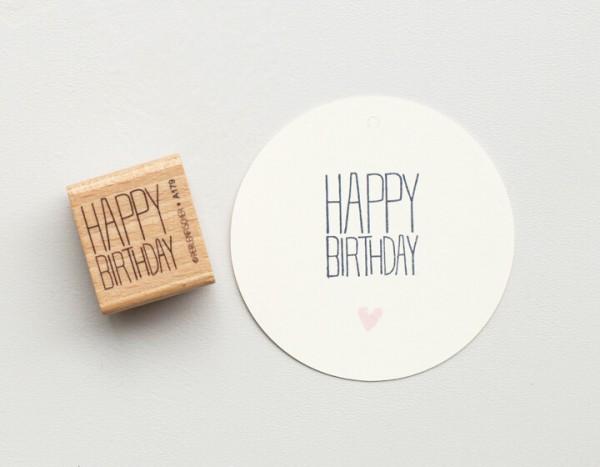Perlenfischer Holzstempel Typo Happy Birthday 3
