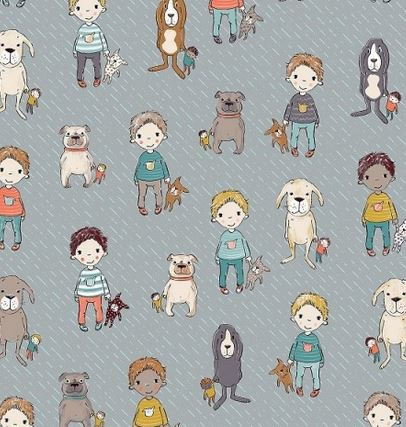 Lillestoff Baumwolljersey Filips Hunde grau
