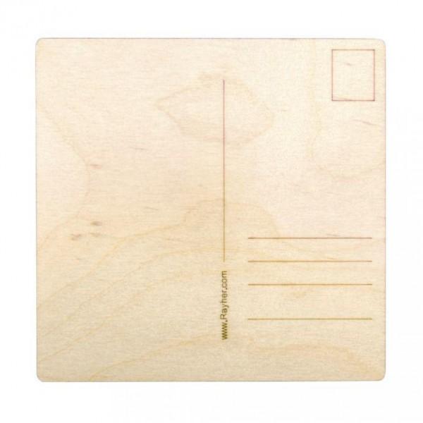 Rayher Holz Postkarten Set quadratisch, natur