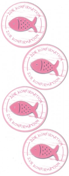 Rössler Sticker rund zur Konfirmation rosa