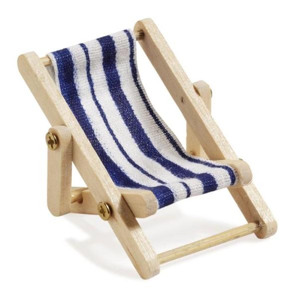 Miniliegestuhl 5 x 3,5 cm blau/weiß