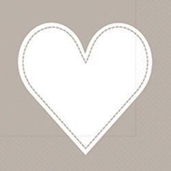 Paper+Design Lunchservietten Heart taupe