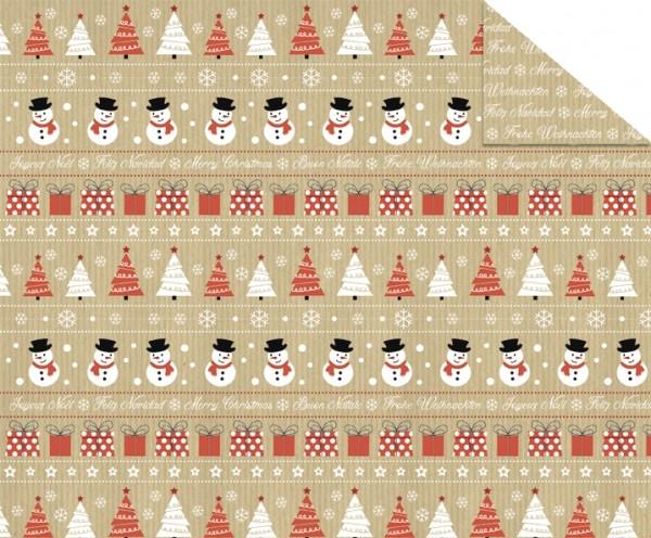 Fotokarton Christmas Time Motiv 3 Schneemänner
