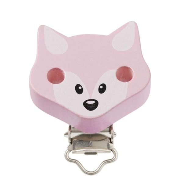 Schnullerketten Clips Fuchs rosa