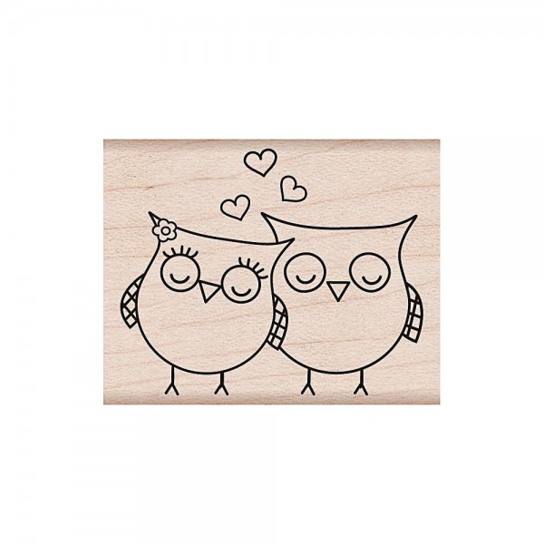 Hero Arts Holzstempel Heart Owls