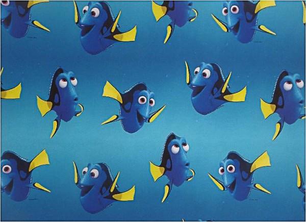 Baumwoll Jersey findet Nemo blau/gelb