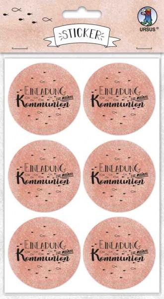 Ursus Sticker rund Einladung zur Kommunion koralle
