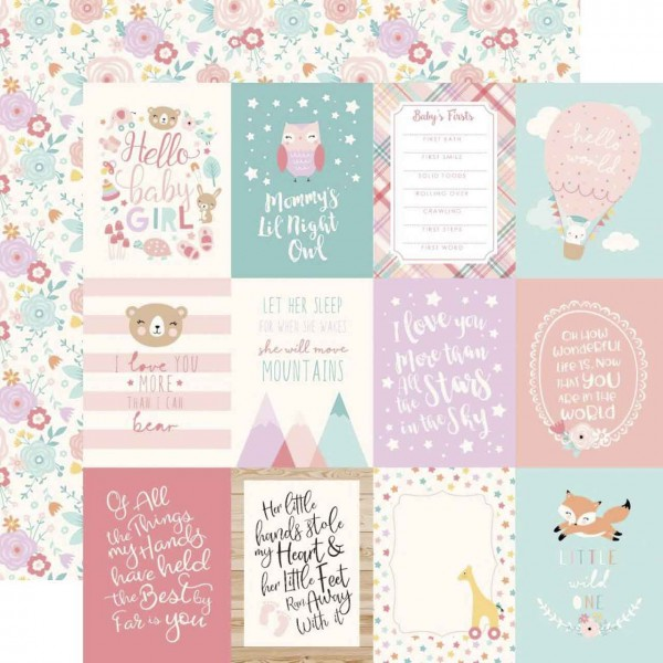 Echo Park Hello Baby Girl 3 x 4 Journaling Cards