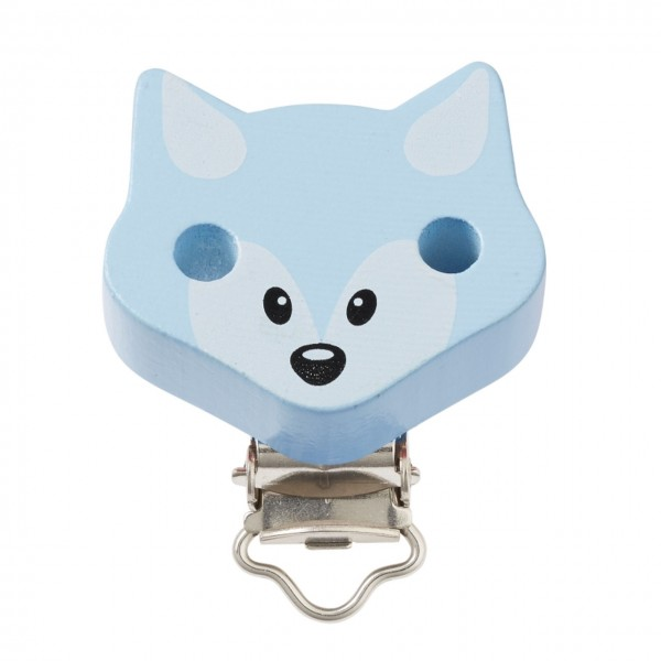 Schnullerketten Clips Fuchs blau