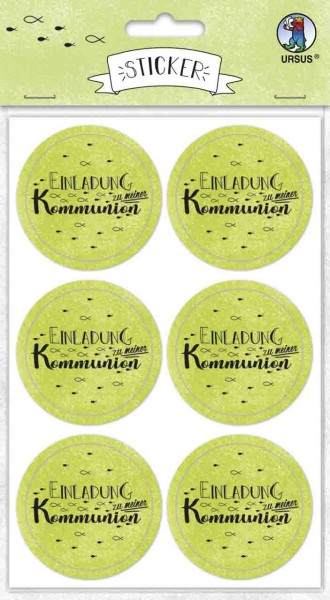 Ursus Sticker rund Einladung zur Kommunion apfelgrün