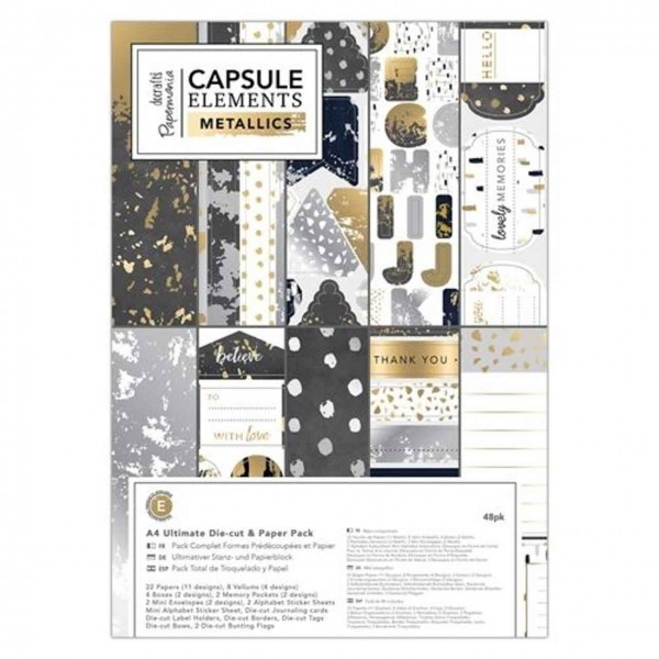 Docrafts Papierpack and Die-cut capsule elements metallic