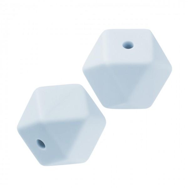 Schnulli-Silikon Perle sechseck hellblau