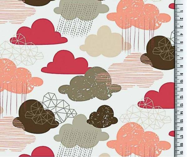Baumwolljersey Wolken apricot-braun