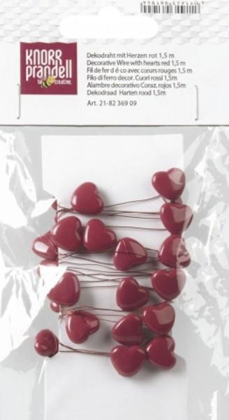 Dekodraht mit Herzen rot