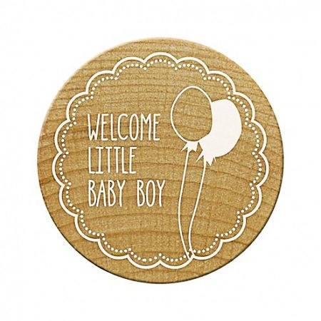 Woodies Holzstempel rund Welcome little Baby boy