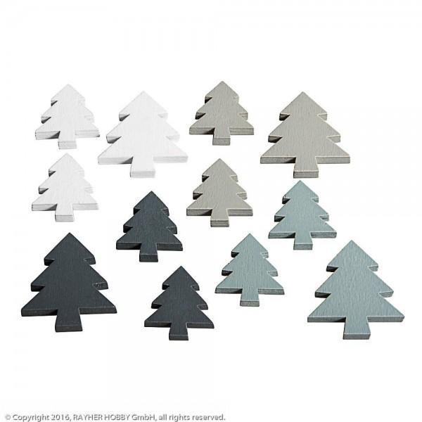 Rayher Holz Tannenbäume grau/weiß