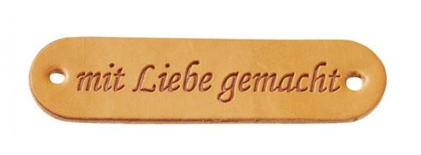 """Kunstleder Labels """"mit Liebe gemacht"""" cognac"""