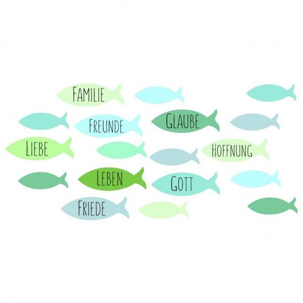 Efco Wachsmotiv Fische/Freunde/Familie grün/blau