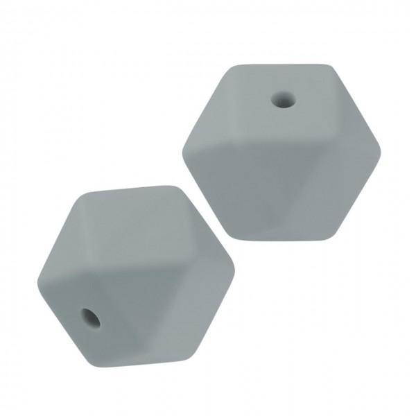 Schnulli-Silikon Perle sechseck grau