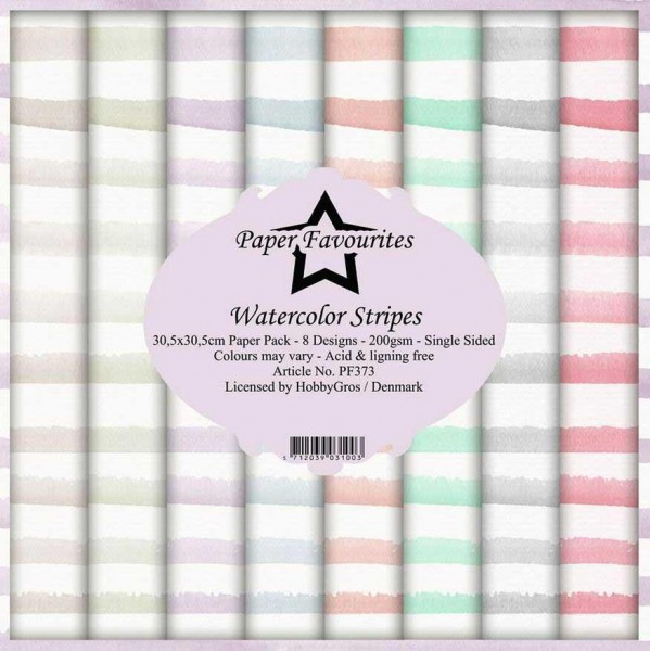 Paper Pack 12 inch Watercolor Stripes