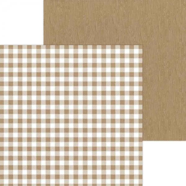 Doodlebug Petite Prints - Buffalo Check/Wood Grain -Kraft