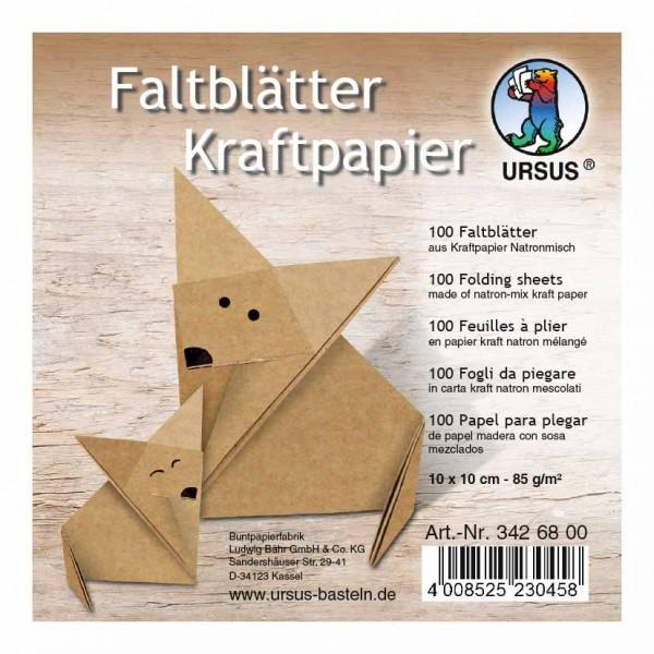 Faltblätter Kraftpapier 10x10