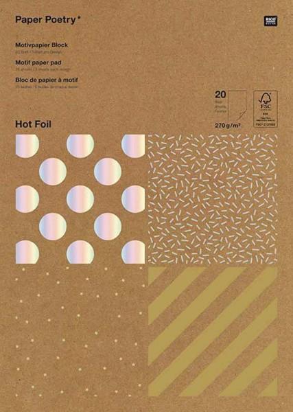 Rico Motivpapier Block Kraft Streifen