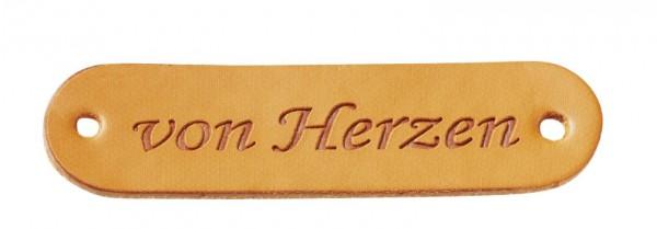 """Kunstleder Labels """"von Herzen"""" cognac"""