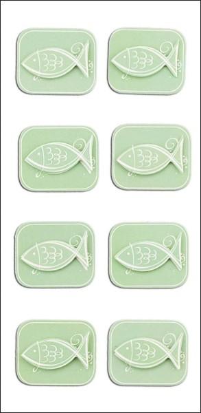 Rössler Handmade Sticker Kommunionfisch grün