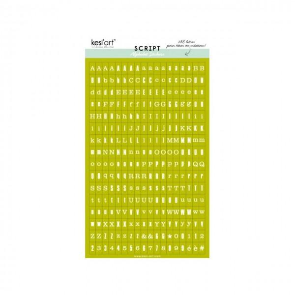 Kesi Art Script Alphabet Stickers vert
