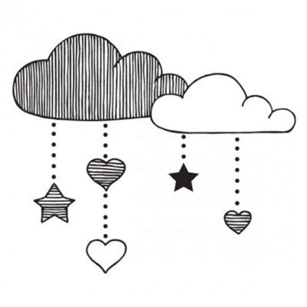 Aladine Holzstempel wolkig