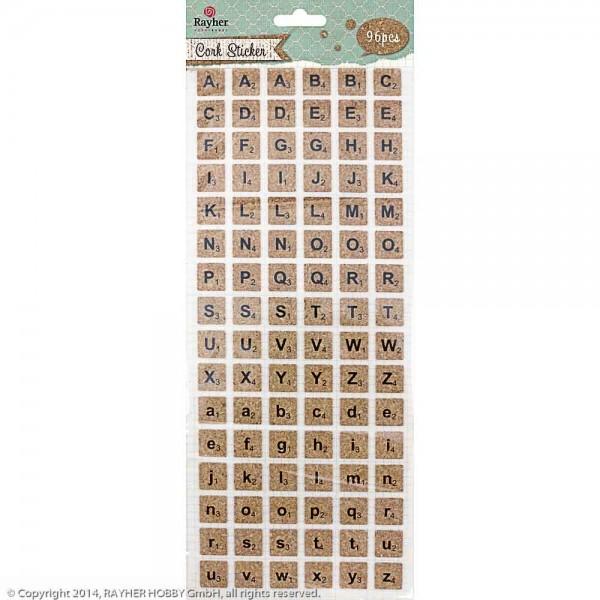 Korksticker Alphabet, quadratisch