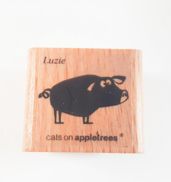 cats on appletrees Holzstempel Schwein Luzie